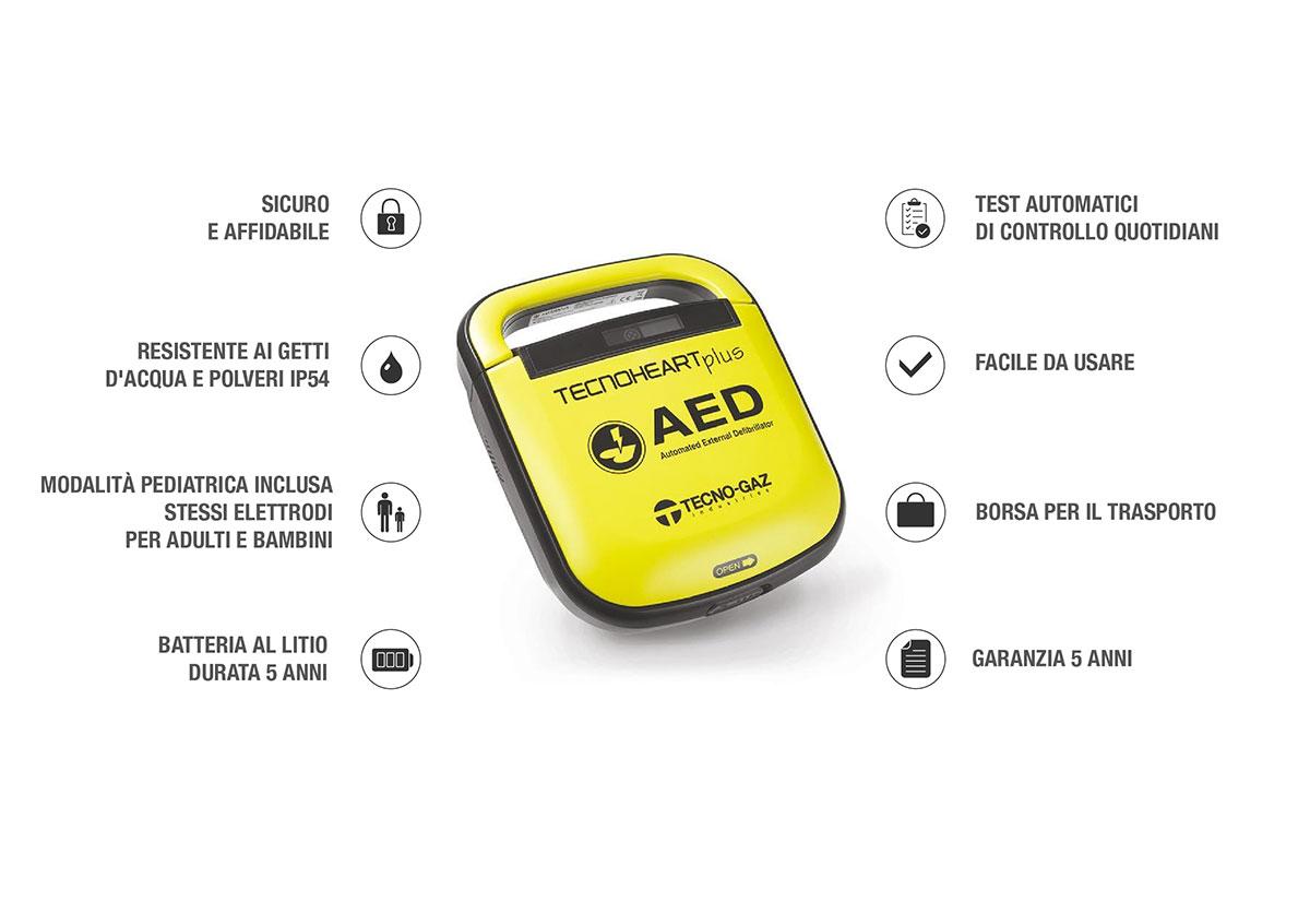 defibrillatore Tecnoheart Plus caratteristiche